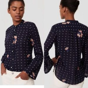LOFT Softened Button Down Navy Floral Embroidered